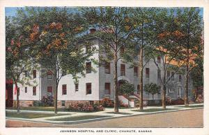 Johnson Hospital and Clinic, Chanute, Kansas, Early Linen Postcard, Unused