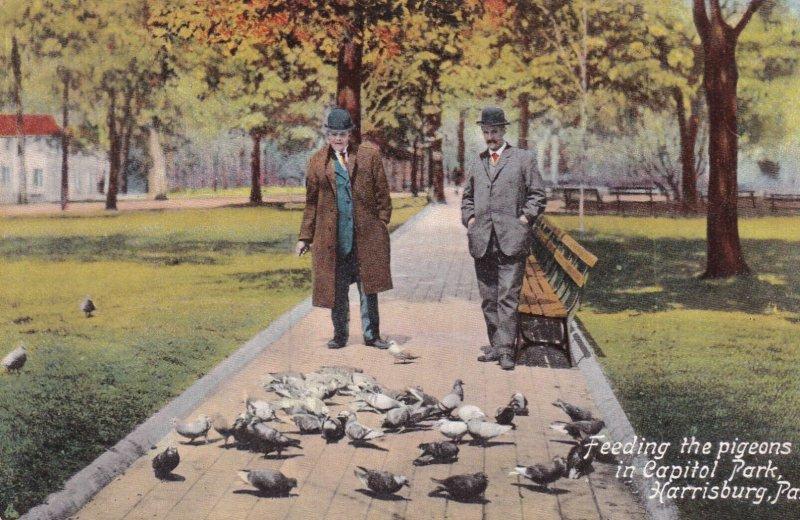 HARRISBURG, Pennsylvania , 00-10s; Feeding the pigeons in Capitol Park