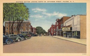 Jefferson Street Scene, Pulaski, New York Business Section Postcard ca 1940s
