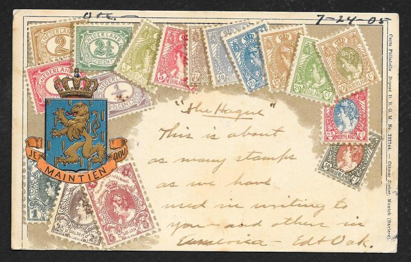 NETHERLANDS Stamps on Postcard Embossed Shield Used c1905