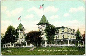 North Woodstock, New Hampshire Postcard THE DEER PARK Hotel Building 1911 Cancel