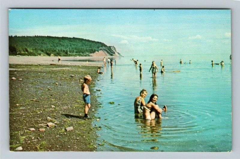 Parrsboro Nova Scotia-Canada, Bathing at Green Beach, Swimming, Chrome Postcard