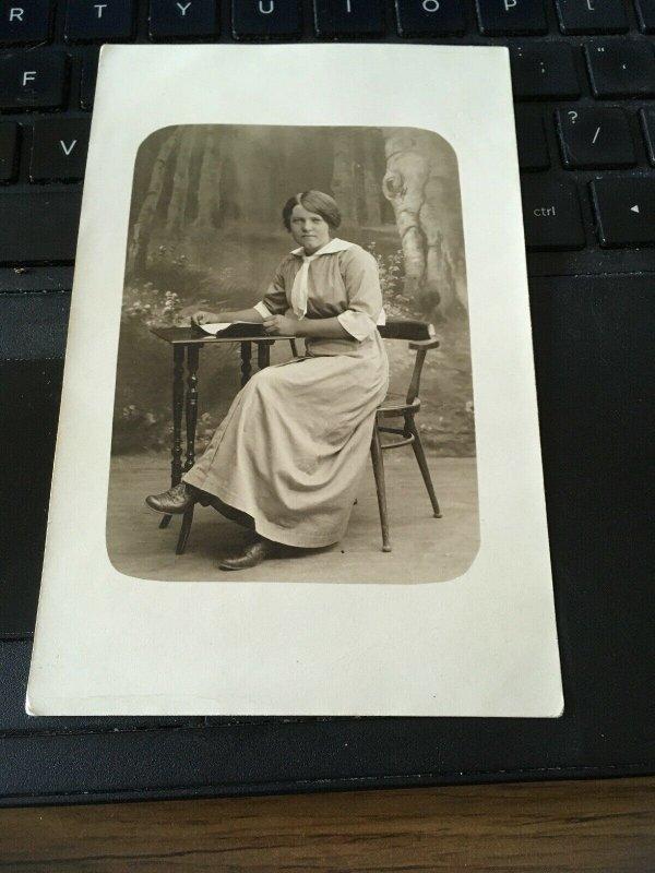 Antique Photo Postcard RPPC-  Woman At Desk, Sweden Halmstad
