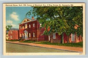 Annapolis MD-Maryland, Harwood House, Linen Postcard