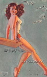 1945 Mutoscope Artist Pin Up Girl, Non Postcard Backing Unused light indentat...