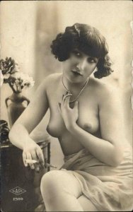 Nude Woman Pearls SAPI #2389 c1915 Real Photo Postcard