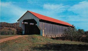 Mount Mansfield red roof covered bridge Cambridge Vermont VT Postcard