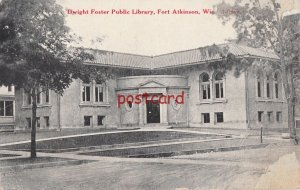1919 FORT ATKINSON WI Dwight Foster Library, dirt road, to Miss Vera Lacky