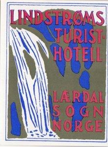 Norway Lardal Sodn Lindstroms Turisthotel Vintage Luggage Label sk1588