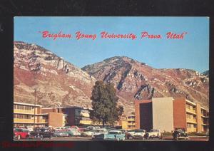 PROVO UTAH BRUGHAM YOUNG UNIVERSITY 1950's CARS VINTAGE POSTCARD