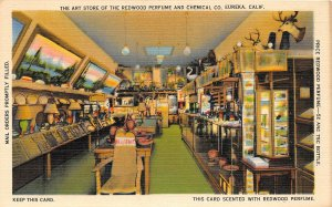 G26/ Eureka California Postcard Linen '39 Interior Art Studio Redwood Perfume
