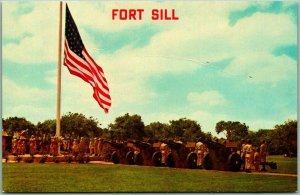 Lawton, Oklahoma Postcard FORT SILL A Salute to the Colors U.S. Flag c1950s