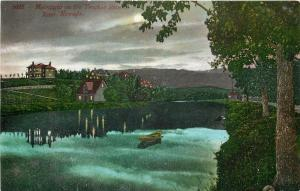 Reno Nevada~Moonlight On The Truckee River~Night Lights in Houses~1910 Postcard