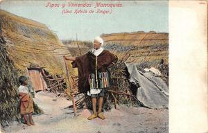 Morocco Afirca Merchant Hut Scene Antique Postcard K76558