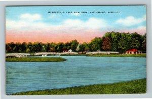 Hattiesburg MS-Mississippi, Beautiful Scenic Lake View Park, Linen Postcard