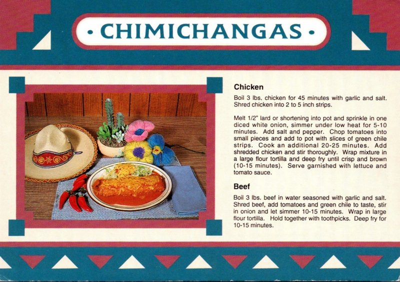 Recipe Card Chimichangas Chicken and Beef
