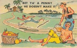 Curt Teich Bet Ya' A Penny He Doesn't Make It Linen Postcard