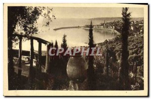 Old Postcard Menton overview taken from the Italian Border