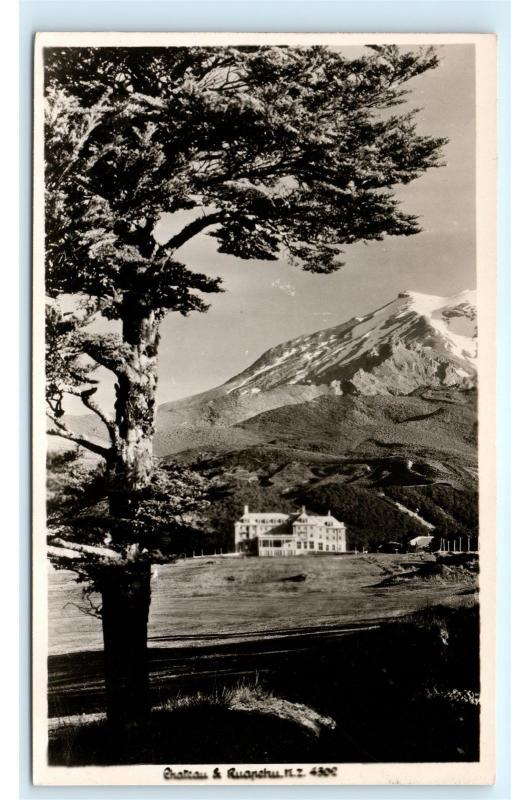 *Chateau Tongariro Mount Mt Ruapehu New Zealand Vintage Real Photo Postcard C91