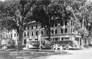 Grinnell IA Greyhound Bus Stop Monroe Hotel RPPC Postcard