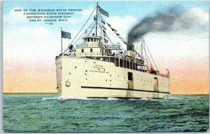 Michigan State Ferry Steamship Postcard Mackinaw City - St. Ignace KROPP Linen