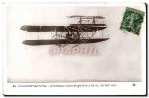 Old Postcard Jet Aviation Lefebvre on Bipan Wright Reims August 25, 1909