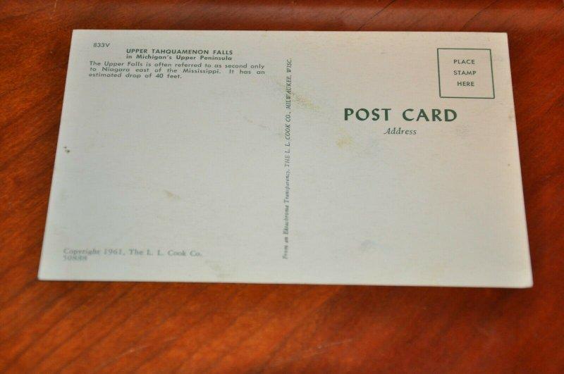 Post Card 1961 Upper Tahquamenon Falls Michigan Upper Peninsula U.P. Vintage