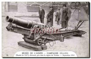 Old Postcard Militaria Paris Musee de l & # 39armee Howitzer 150mm German cau...