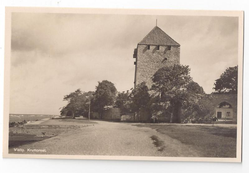 RPPC Sweden Visby Kruttornet City Wall Real Photo