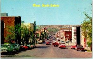 MINOT, North Dakota Postcard MAIN STREET Downtown Scene Chrome 1966 Cancel