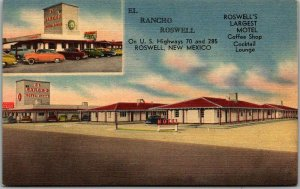 Roswell, New Mexico Postcard EL RANCHO ROSWELL Highway 70 Roadside Linen c1950s