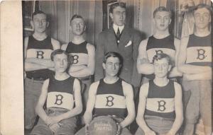 E68/ Brilliant Ohio Real Photo RPPC Postcard Jefferson Co Basketball Team c1912