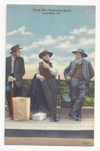 PA Lancaster County Amish Men Vtg Curteich Linen Postcard