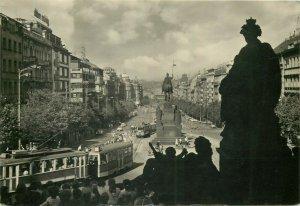 Czech Republic Praha Wenceslas square tramway postcard