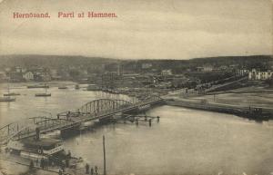 sweden, HERNÖSAND, Parti af Hamnen, Bridge (1909) Stamps