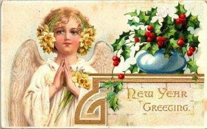 Vintage Postcard New Year Greetings Angel Holly Flower 1912 King City Salinas CA