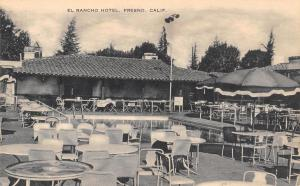 Fresno California~El Rancho Hotel~Patio Tables Surround Pool~1930s Artvue PC