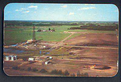 Edmonton, Alberta, Canada Postcard, Bird's Eye View Of Oil Scene & Rig