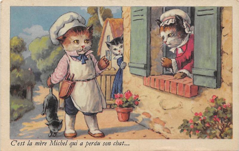 Humanized Vintage Cats C'est la mere Michel qui a perdu son chat...