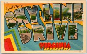 Vintage SKY-LINE DRIVE Virginia Large Letter Postcard Asheville Linen c1950s