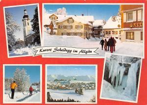 Kurort Scheidegg im Allgaeu Wintersport Skiers, Frozen Waterfall, Church Kirche