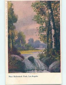 Pre-1907 HOLLENBECK PARK WATERFALL Los Angeles California CA hp9456