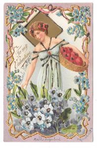 Valentine Postcard Beautiful Woman Basket of fruit Embossed