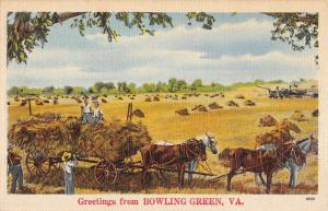 Bowling Green Virginia Hay Horse Cart Greeting Antique Postcard K82670