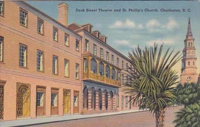 South Carolina Charleston Dock Street Theatre and St Phillip's Church