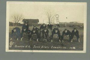 Algona IOWA RP 1916 FOOTBALL TEAM Posing STATE CHAMPIONS Train Station DEPOT