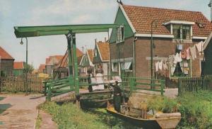 Volendam Laundry Washing Line Barge Uniform Costume Holland Real Photo Postcard