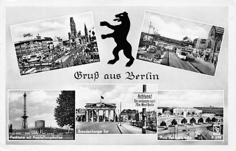 Germany Gruss aus Berlin, Brandenburger Tor, Bahnhof Zoo, auto cars trams, Lion