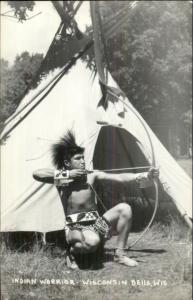 Indian Warrior Drawn Bow & Arrow Tepee Wisconsin Dells RPPC Postcard rpx