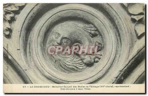 Old Postcard La Chaise Dieu Medallion Sculpt of the Abbey Stalls